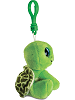 Turtle (Green) Big Eyes Plush Backpack Clip Stuffed Animal (Side View)