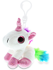 Unicorn (White) Big Eyes Plush Backpack Clip Stuffed Animal by DolliBu