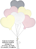 Custom 6 Heart Balloon Cluster (Large) Fabric Wall Art shown in 47 Gray, 31 Pink, 32 Lemon, 39 White