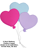 3 Heart Balloon Cluster (Large) Fabric Wall Art shown in #33 Light Blue, #51 Hot Pink, #36 Lilac