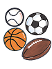 Sports Balls Wallies Mural Wallpaper Cutouts