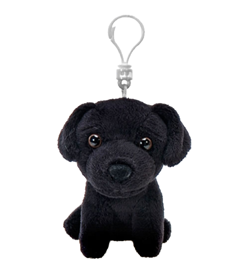 Black Labrador Plush Backpack Clip Stuffed Animal By Fiesta