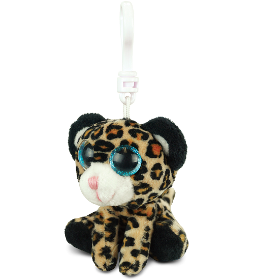 Leopard Brown Big Eyes Plush Backpack Clip Stuffed Animal By Puzzled