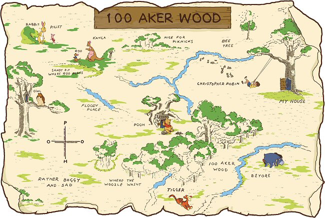 Winnie The Pooh 100 Aker Acre Wood Map Roommates Giant