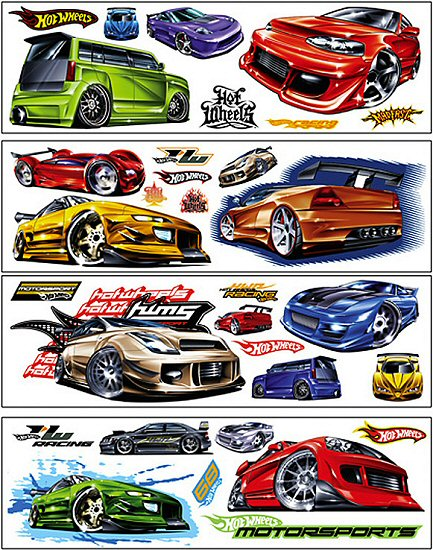 Hot wheels wall decals wall stickers for Circuit hot wheels mural