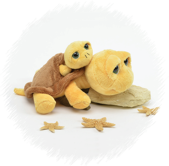 Big Eyes Mom Baby Turtle Yellow Stuffed Animals By Unipak